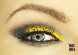dark sparkling grey & bright yellow