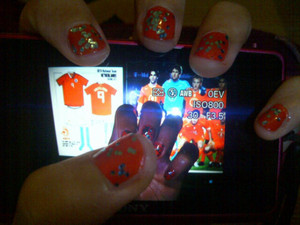 I wanted to use sky blue glitter, but they're not doing blue socks this year. :| #Euro2012 #KNVB #NL