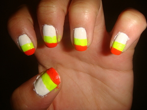 The Candy Cane look, I didn't have a yellow color so i used a neon yellow.