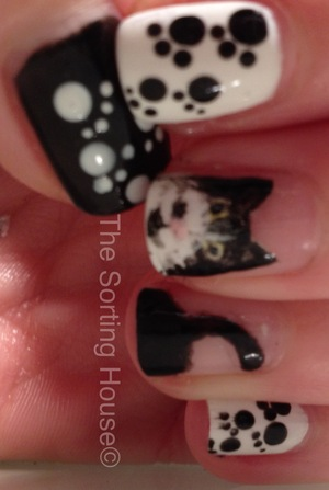 Hand painted kitty portrait manicure.
