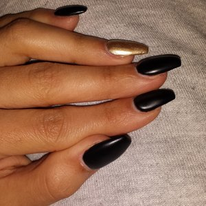 Black Matt with gold on my ringfinger