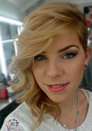 Makeup I did to match a light blue plaid shirt