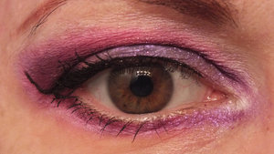 Paperdoll on lid and blending out inner lower lash line Poison Plum in crease and lower lash line blended out with Dollipop Dollipop blended out with Tako Sobe oil control powder on face Darling Girl Love's True Kiss blush FIERCE MAGENTA Glamour lip gloss