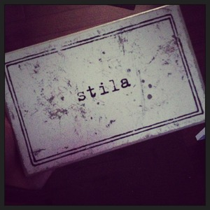 This Stila 8 pan pallet is from 1995ish. I purchased my first shadows in the original paper cardboard vessels in 1994, then this was available, while expensive the 'refill' shadow and blushers were less expensive than their cardboard counterpart. *This is my personal palette and I still use it, nearly 20 years later.