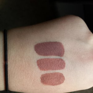 Top to bottom:  1. Lime Crime Velvetine in Cashmere  2. Anastasia Beverly Hills Liquid Lipstick in Pure Hollywood  3.  Jeffree Star Cosmetics Velour Liquid Lipstick in Celebrity Skin