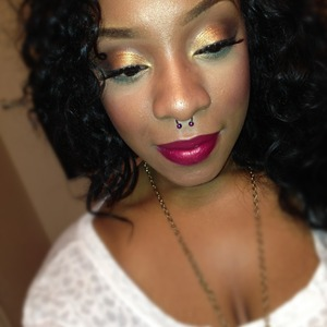 """Gold on the lid -> """"Ella"""" from Magnolia Makeup Crease -> """"Sugar Hill"""" also from Magnolia Makeup Lips -> Filled in lips w/jordana lipliner terracotta, outlined shape for dimension with cabernet (jordana)."""