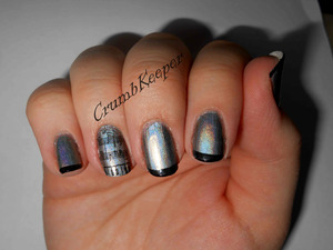 Polishes Used- China Glaze  Holographic: Cosmic Dust Maybelline Color Show: Onyx Rush Tools Used: Essence French Tip Guides Stamping Plate m73