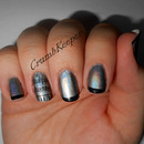 Black Holographic Tips with a Stamped Accent
