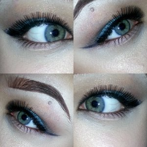 I used nyx jumbo eye pencil in milk all over the lid, used a light brown in the crease and covered the rest of my eye with a simple teal color. added a wing eyeliner & some lashes & I'm all ready to go ;)  insta: @ dasya_xo