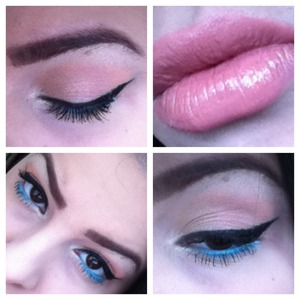 Coral eyeshadow, blue shadow on lower lash line, dramatic winged liner.