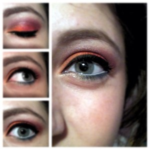 Inspired by bright summer colors. Upper lid consists of warm shades like a sunset. The lower lashline shades include cool colors for beachwater. Gold glitter liner on the inner lower lashline.