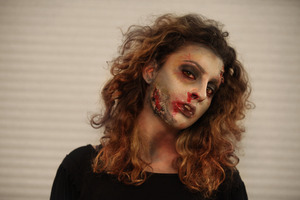 A Zombie Look I did using at home special f/x products: SCAB/SCARS- Tissue/Toilet paper, BLOOD- lipgloss and creme makeup.