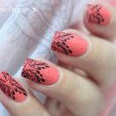 Nail Stamping over Sand Polish