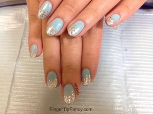 DETAILS HERE - http://fingertipfancy.com/baby-blue-nails-silver-glitter-tips/