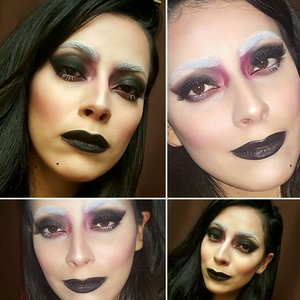Black Smoked out shadow, Black lips and white accent brows and lashes.  Great for Halloween or even Editorial.