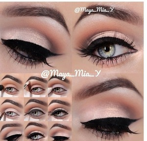 I love this!! there's a tutorial on the left...I took this from Instagram! (credits) follow me!! @_ccamryn_ #eyes #eyeliner #pretty