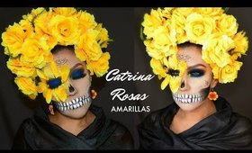Catrina con Azul yRosas Amarillas/ Sugar Skull in Blue & Yello Roses | auroramakeup