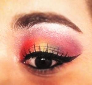 rainbow colors with basic winged eyeliner