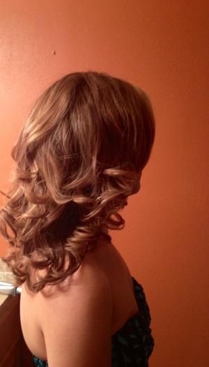 Flat iron curls.