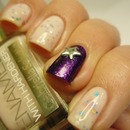 Sandwich manicure with violet & stars