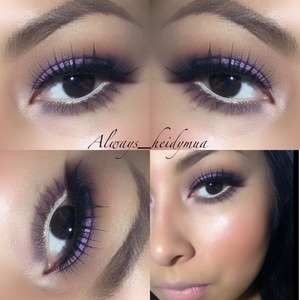 Anastasia Beverly Hills genius kit in medium brown on my eyebrows soft brown on crease a purple shadow  from smash box on outer v with mix with carbon loreal infallible 342 with a twist on my lid nyx eyeliner in milk on water line Milani blush in luminoso Creme d nude on lips by Mac