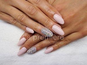 Flesh colored nails and Swarovski crystal ab ss5. Like me: facebook.com/lapremiere.studio