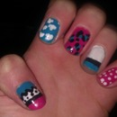 Colourful designs based on blue/pink/black/white