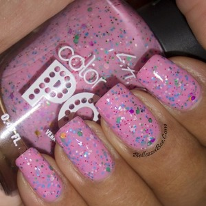 Pink with multicolored glitter pieces