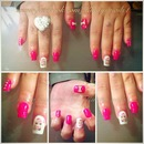 Bright Pink Barbie Nails