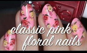 Classic Pink Hand Painted Floral Nail Art | Lacquerstyle