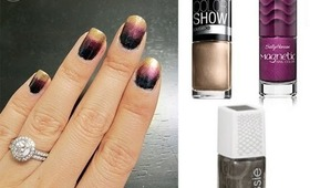 A Different Method to Ombre Your Nails - Gold, Burgundy & Pewter