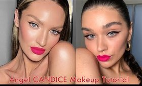 Half eyeliner and Bright Pink lip. Candice makeup