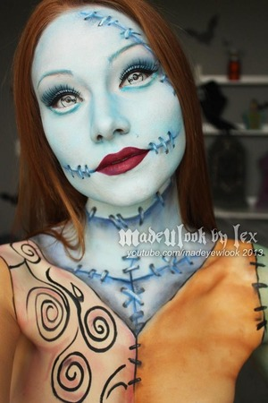 This look was MUCH requested! A completely body painted Sally! I love love love the way that my stitches turned out! Hooray! youtube.com/madeyewlook