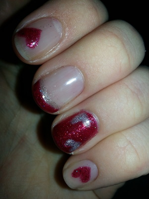I used Gelish polish and cured under an LED lamp. Valentine's Day inspired theme.