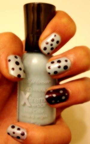 Blue and Maroon polka dots:)<3