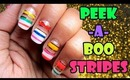 Bright peek-a-boo stripes nail art | Tutorial
