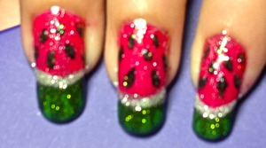 glittery watermelon nail art to watch video tutorial for this look, SUBSCRIBE free to my youtube nailart channel: www.youtube.com/nailartbynidhi