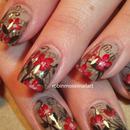 Fall Newspaper Floral Nail Art