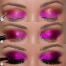 Hot pink smokey eyeshadow