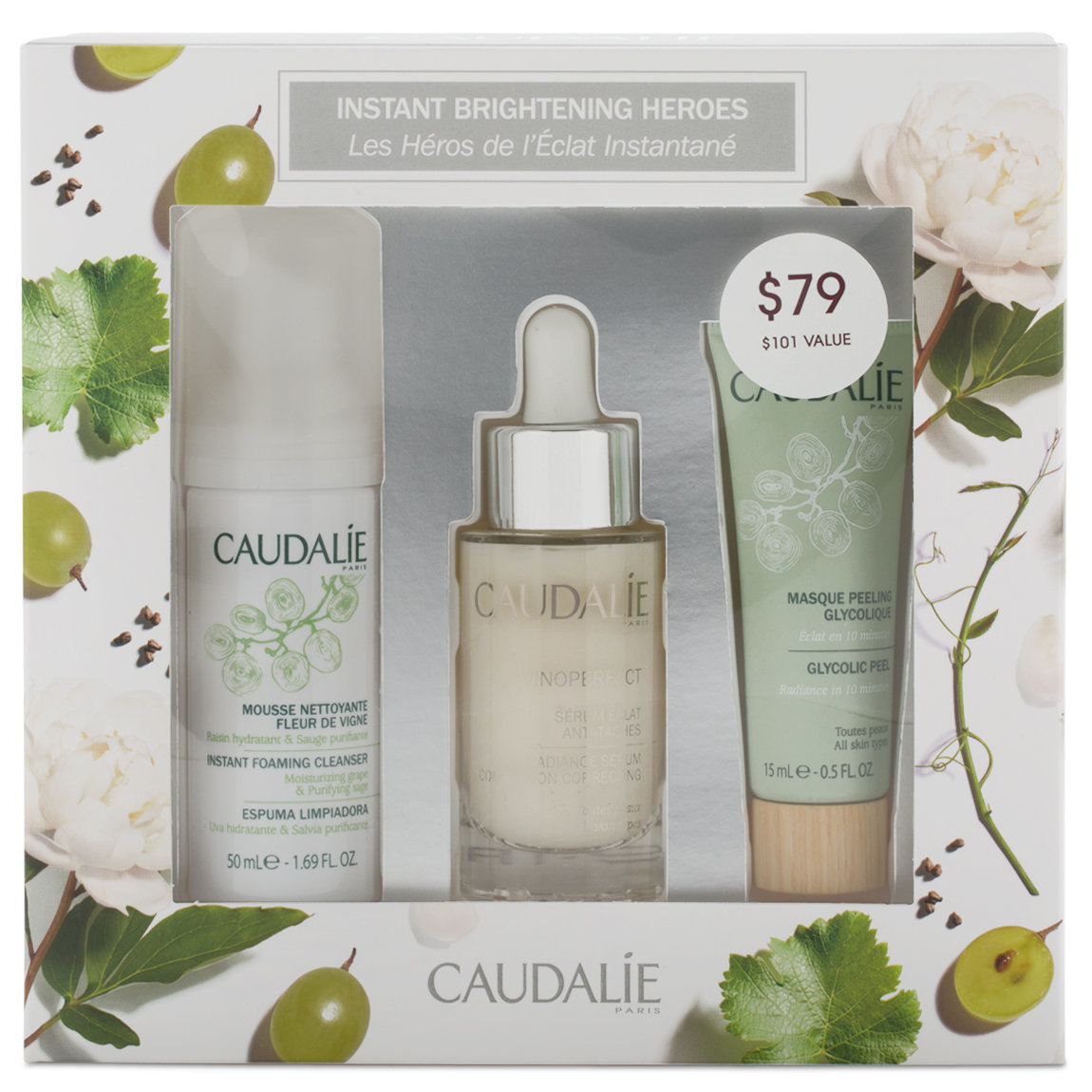 Caudalie Vinoperfect Instant Brightening Heroes Set product smear.