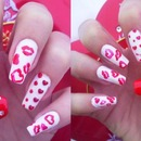 Red lips and hearts nails