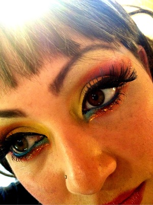 this look involved yellow,orange,blue and glitter!!!!!!