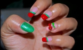 3D Cherry Nails ~ Red and Green Bling feat. BornPretty Store