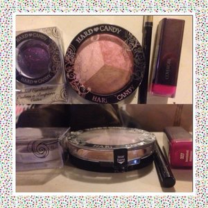 Got new makeup. I always love buying Hard Candy makeup, their packaging is to cute 💕 Top pic from left to right : Hard candy baked eyeshadow in supernova  Hard Candy contouring trio 3rd wheel loreal Silkissine eyeliner in black  And covergirl lipstick in bombshell passion