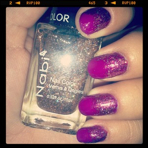 lilac purple nails with a copper glitter gradient!! :)