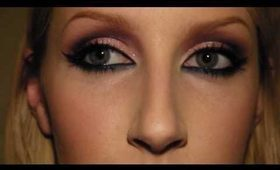 Smokey Eye Makeup with Glitter and Winged Liner