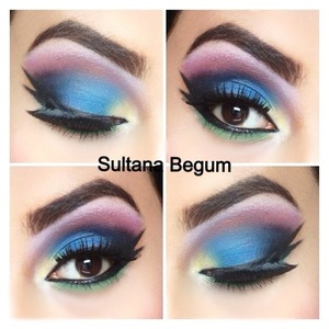 Dramatic look using mac 88 palette :) blue, yellow, pink and black   Follow me on Instagram @sullymalik