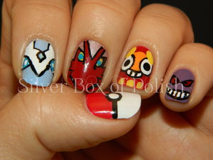 Nail art inspired by Pokemon. Featured designs; Pokeball, Aurorus, Blaziken, Darumaka, and Gengar.