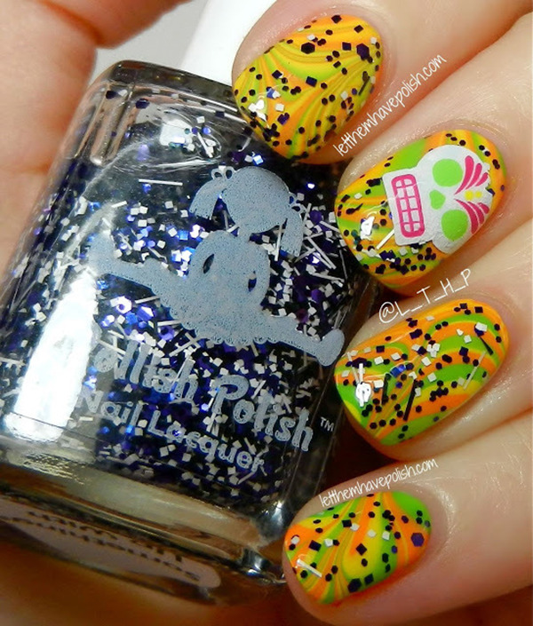 Halloween Nail Art: Psychedelic Skull