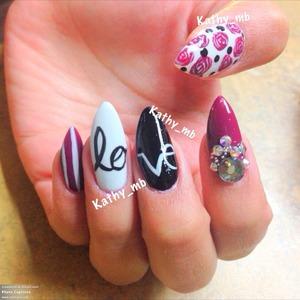 Fall love stiletto nails , floral nails, studdednails